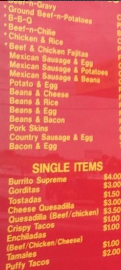 La Popular Bakery Burrito Shop Menu